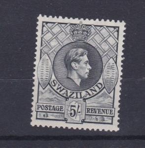 SWAZILAND 1938 54   S G 37A  FIVE SHILLING SLATE  L H M