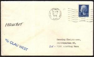 DENMARK GB 1975 ship cover pmk Medway. Mss Paquebot, MV Olau west..........46683