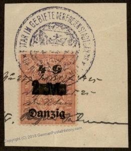 Danzig Germany Preussen Prussia 4 Gulden 2M Stempelmarke Document Revenue  90859