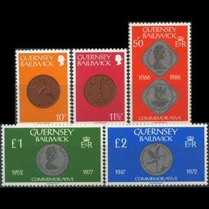 GUERNSEY 1979 - Scott# 199-203 Coins 10p-2pound NH