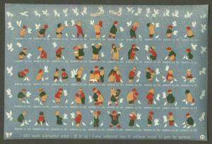 Denmark. Christmas Seals.1954 Sheet. Mnh. Imperforated. Children,Pigeon