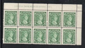 Canada Sc 211 1935 1c Princess Elizabeth stamp plate block mint NH