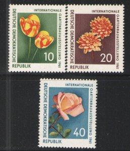Germany - GDR/DDR 1961 Sc# 565-567 MNH VG/F - Flowers