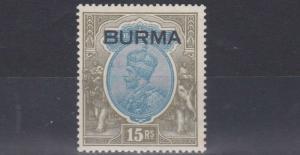 BURMA  1937   S G  17  15R   BLUE & OLIVE    MH  CAT £800