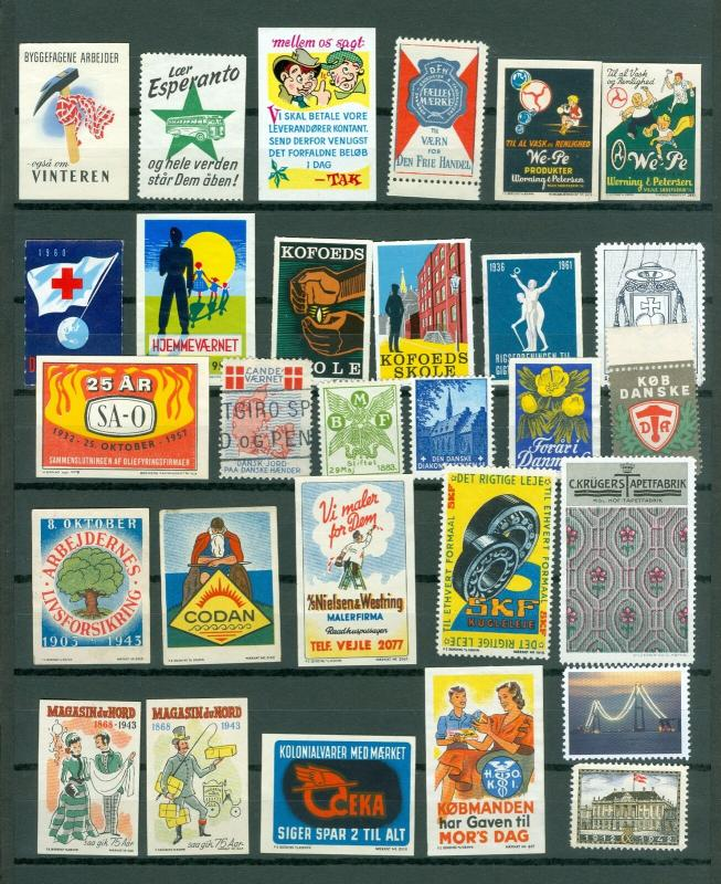 Denmark. Poster Stamp, Lot 29 Diff. 1920-2000. Business,Industry,Defence,Health.