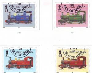 Isle of Man Sc 781-4 1998 Steam Railway stamp set used