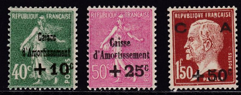 France 1929 Semi-Postal set Complete (3) Sower Type Overprinted  F/VF/NH(**)
