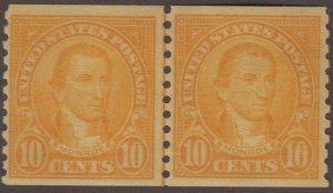 US Stamp #603 Mint Hinged Line Pair 603120647