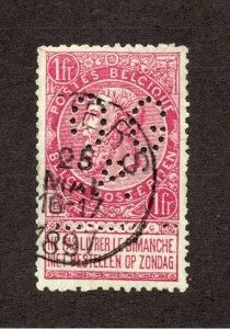 Belgium - Sc# 72 Used /  1879 CDS / OGA Perfin  -   Lot 0521034