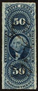 rs0010 U.S. Revenue Scott R61a 50-cent Passage Ticket imperforate SCV = $140