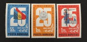Romania 1972 #2396-8, 25th Anniversary, MNH.