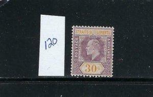 STRAITS SETTLEMENTS SCOTT #120 1904 WMK 3- 30 CENTS (VIOLET/ORANGE)  -MINT XLH