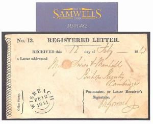GB *VERY EARLY* REGISTERED LETTER GPO Receipt Wisbech Cambs RARE 1841 MS1482