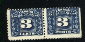 Canada 3 cent excise   pair    Mint NH  PD