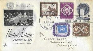 1951 FDC, #1-11, 1c-$1 Regular Issue, Art Craft (2) combo
