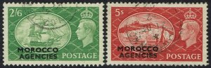 MOROCCO AGENCIES 1951 KGVI PICTORIAL 2/6 AND 5/- USED