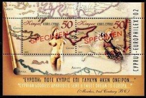 HERRICKSTAMP CYPRUS (BR) Sc.# 998 Nude S/S, Maps Specimen Overprint