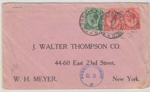 South Africa 1916 Censor Cover To New York Postal History J6067