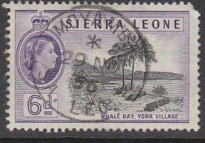 SIERRA LEONE 1956 QE 6d - MOYAMBA cds......................................87310