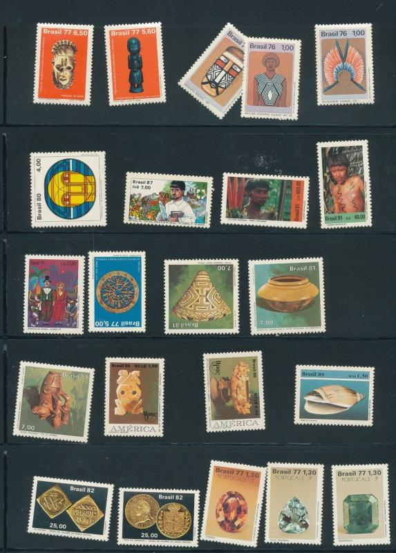 BRAZIL 1976/81 Art Gem Stones Amazon MNH 22 Items (Au15139