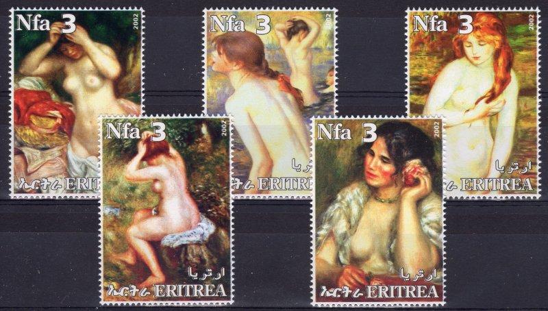Eritrea 2002 PIERRE AUGUSTE RENOIR Famous Nudes Paintings Set (5) MNH