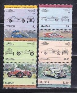 St Lucia 653-656 Se-tenant Pairs Set MNH Cars