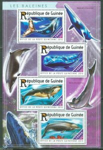 Guinea MNH S/S Whales Marine Life 2015 4 Stamps