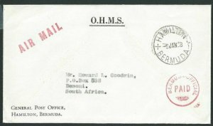 BERMUDA 1968 OHMS cover to South Africa - OFFICIAL PAID in red.............39936