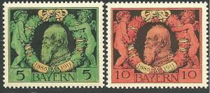 Bavaria #92-93, Prince Luitpold, Mint-LH**