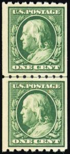 390, Mint VF NH 1¢ Coil Line Pair Cat $72.50 - Stuart Katz