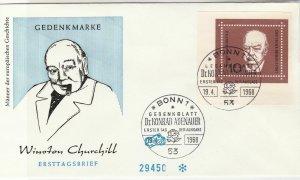 Germany 1968 Winston Churchill Bonn1 Slogan Cancels Stamp FDC Cover Ref 25758
