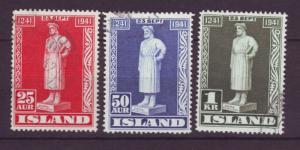 J19164 Jlstamps 1941 iceland set used #237-9 statue