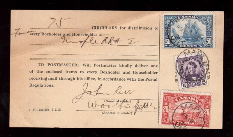 Canada #158 Used On Circular Form Along With #146 #157