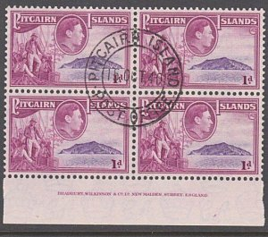PITCAIRN 1940 GVI 1d imprint block of 4 fine used..........................29961