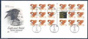 UNITED STATES SCOTT#2597a EAGLE    BOOKLET PANE  ON  ARTCRAFT UNADDRESSED FDC