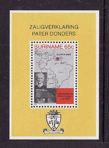 Suriname-Sc#599a-unused NH sheet-Maps-Father Petrus Donders-1982-