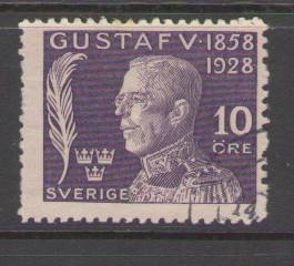Sweden Sc B33 1928  10 ore 70th Birthday Gustaf V stamp used