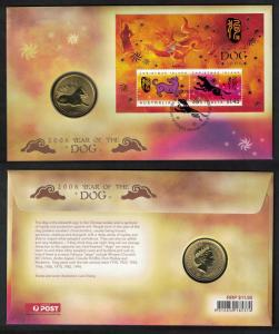 Christmas Is. Chinese New Year 'Year of the Dog' Numismatic FDC