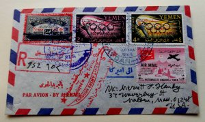 YEMEN 1963 CAT VALUSD 2200X2 REGD COVER BY BRUCE CONDE VIA SAUDI ARABIA