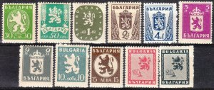 Stamp Bulgaria SC 0469-80 1945-6 WWII Crown Coat of Arms MH