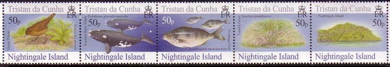 Tristan da Cunha Birds Fish Marine Life Plants Nightingale Island strip of 5v