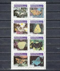 Equatorial Guinea, Mi cat. 964-971 A. Butterflies sheet of 8.