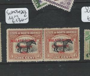 NORTH BORNEO (B0910)  1922 MBE 1C TAPIR SG 253+253C  SE TENANT PAIR MOG