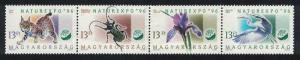 Hungary Egret Bird Lynx Beetle Iris Flowers 4v Strip SG#4301-4304