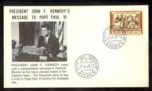 VATICAN CITY 1963 JOHN F KENNEDY CACHET Cover Sc 284