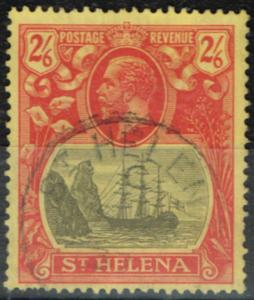 St Helena 1927 2s6d Grey & Red-Yellow SG109c Cleft Rock V.F.U Scarce