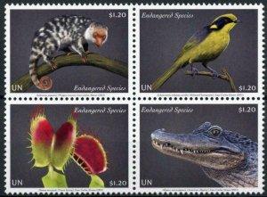 New York United Nations UN Stamps 2021 MNH Endangered Species Birds 4v Block