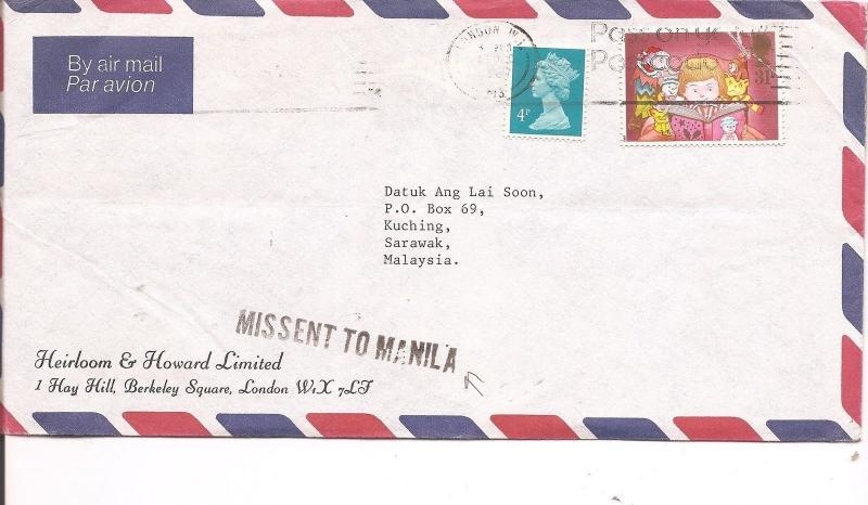 Philippines GB to Sarawak cover missent to Manilla (bam)