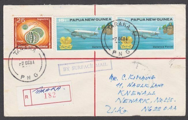 PAPUA NEW GUINEA 1981 Registered cover ex TARAKA............................M402