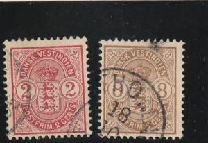 Danish West Indies  Scott#  29-30  Used
